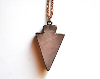 Rose quartz pendant amulet an arrow head woman; talisman protection natural stone jewelry