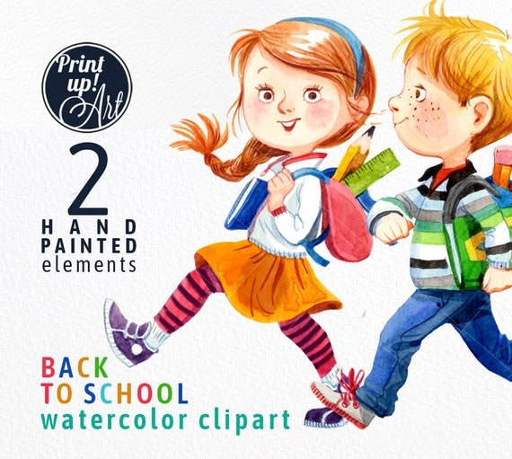 SCHOOL clipart kids watercolor clipart boy and girlback to