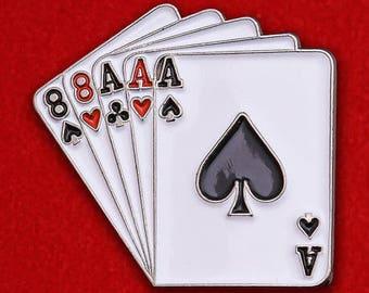 Full House Poker Cards Enamel Lapel Pin Badge