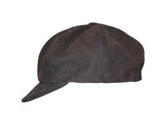 Leather newsboy cap true grey