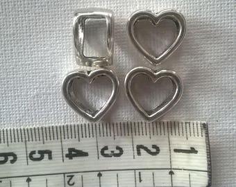 Silver metal heart bead width