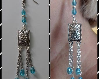 Earrings Aqua Marine, dangling, silver metal beads in glass.