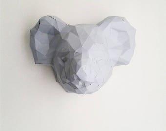 Trophy head geometric koala paper