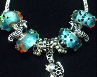 Underwater Pieces Handmade Charm Bracelet / Fish and Seahorse Silver Charms for her / 3D Lampwork Murano Glass Beads