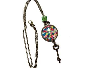Cabochon pendant necklace * multicolored *.