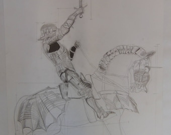 Knight Pencil Drawing