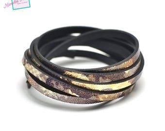 "1.15 m Strip split leather 5 x 2 mm ""MIST"", Golden plum"