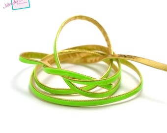 5 meters of synthetic leather 4 x 1 mm, gold/lime green