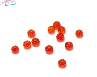 30/90 beads Crystal rondelle faceted 4 x 3 mm, Red