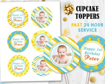Rubber Duck Cupcake toppers Cake toppers Editable toppers Photo toppers Digital printable Birthday toppers Baby shower toppers