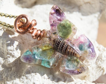 Crystalline Butterfly Orgone Necklace - Life Force Generator, Natural Sacred Geometry - 528hz - Reiki Infused  - Multi Crystal