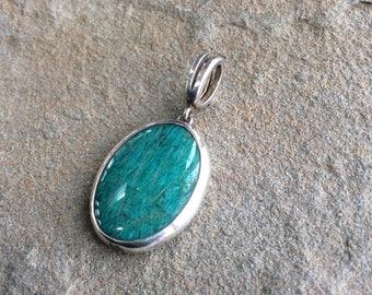 Amazonite silver pendant