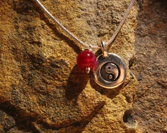 """Pink Banded Agate Stone & Yin Yang Charm Handmade Necklace 18"""" Sterling Silver Chain"""