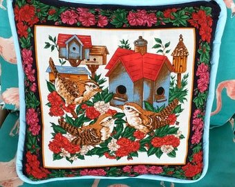 Pillow with Picture of Birds and Birdhouses!