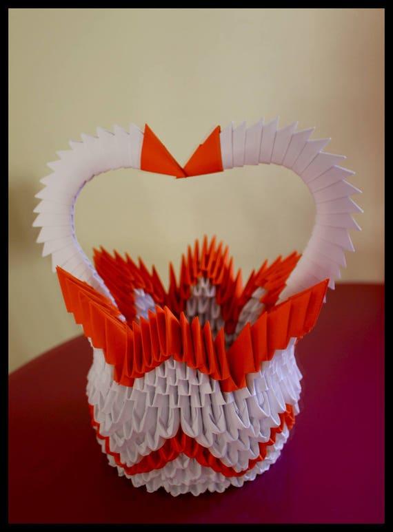 vase origami 3d bicolore blanc et orange. Black Bedroom Furniture Sets. Home Design Ideas