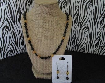 Black & Gold Neckace /Earrings Set