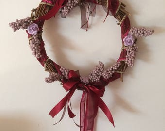 Crown made of Hazelwood and Burgundy ribbons