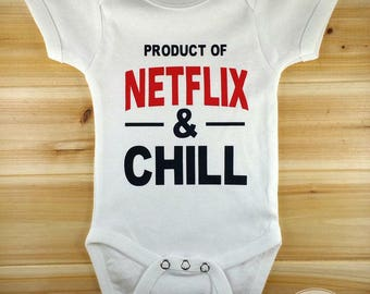 Netflix and Chill, Funny Baby Onesies, New Baby Gift, Cute Baby Clothes, Cute Baby Onesies, Baby Shower Gift, Baby Boy Gift, Baby Girl Gift