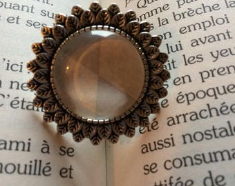 Soft triangle glass cabochon ring
