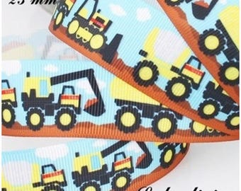 Bottom construction truck excavator 25 mm grosgrain Ribbon sold by 50 cm