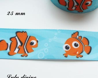 Orange Nemo fish light blue grosgrain Ribbon 25 mm sold by 50 cm