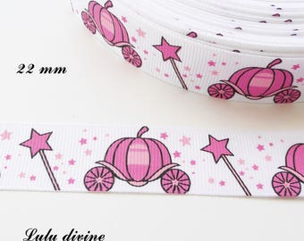 Ribbon grosgrain white stars pink carriage & Castle pink 22 mm sold by 50 cm