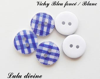 Set of 5 buttons round 13 mm 2-hole: gingham blue / white