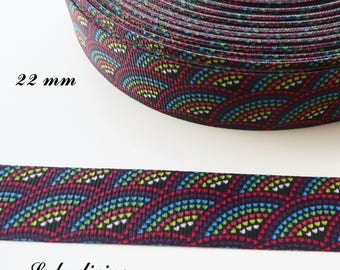 Ribbon grosgrain black 22 mm multicolor heart range sold by 50 cm