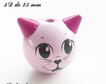 25 mm wooden bead, Pearl 3D cat: light pink