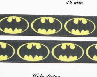 Ribbon grosgrain black superhero Logo Batman black & yellow 16 mm sold by 50 cm