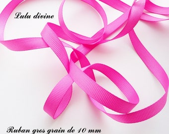 Ribbon 10 mm, sold in 2 meters grosgrain: Fuchsia