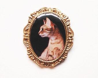 magnet portrait chat mau egyptien camée photo aimant frigo idée cadeau