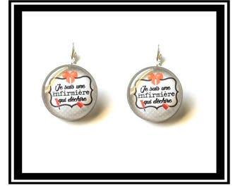 "Earrings ""I'm a nurse who rocks"" humor, funny, custom, thank-you gift, quotes, health."