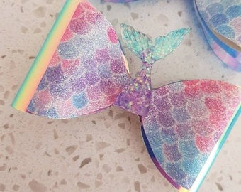 Glitter Mermaid Tail Double Bow