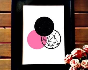 Minimalist printable art, geometric art, printable wall art, wall decor, geometric design,pink and black geometric poster simple