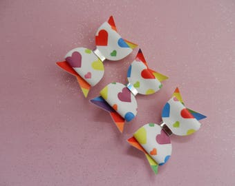 hair clip bow, mulit coloured hearts, hairbow