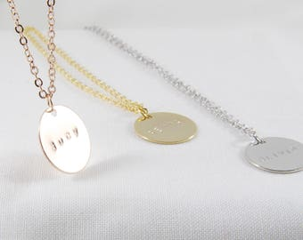 Personalized Name Disc Necklace | Coin Necklace | Mother's Day Necklace | Name Necklace | Bridesmaid Gift | Gold, Rose Gold or Silver
