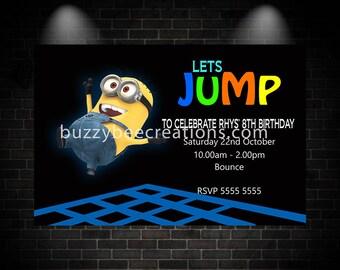 Minion Invitation, Minion Birthday Invitation, Minion Birthday Party Invitation, Minion Trampoline Birthday Party Invitation