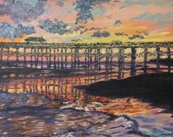 Folly Beach Sunset-oil painting