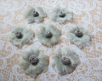 SET of 6 POMPOMS 4.5 cm grey ORGANZA flowers