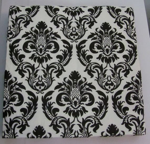 serviette en papier noir et blanc motifs arabesque. Black Bedroom Furniture Sets. Home Design Ideas