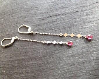 pink tourmaline drop long earrings