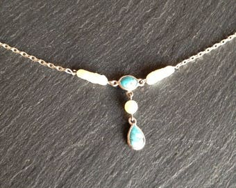 Choker necklace turquoise fine cultured pearls and Baroque