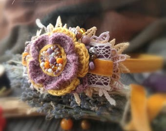 hairband boho, knitted hairband, style boho, hair accessories, free shipping, knitted ornaments, flower accessories, bright hairband