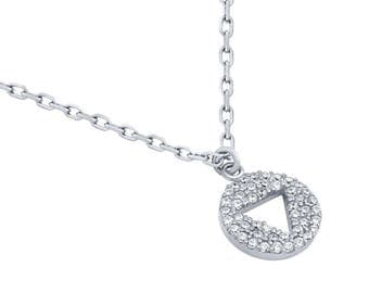 """Rhodium plated cz disk necklace with cutout triangle 16"""" + 2"""""""