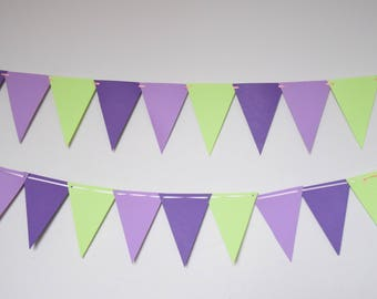 Purple Green Paper Banner, Paper Pennants,Birthday Decor,Triangle Flag Banner,Baby Shower,Wedding Decor,Party Decor, Adult Party Decor,