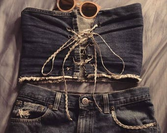 Denim Lace Up Tube Top
