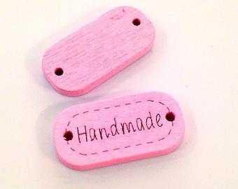 ♥ X 1 wood HANDMADE 24mm button pink ♥