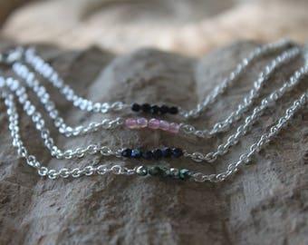minimalistic bracelet with glass- in fern, blue, pink, black