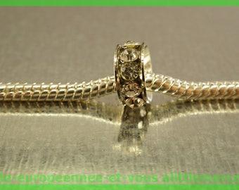 Pearl European N444 rhinestone spacer for bracelet charms